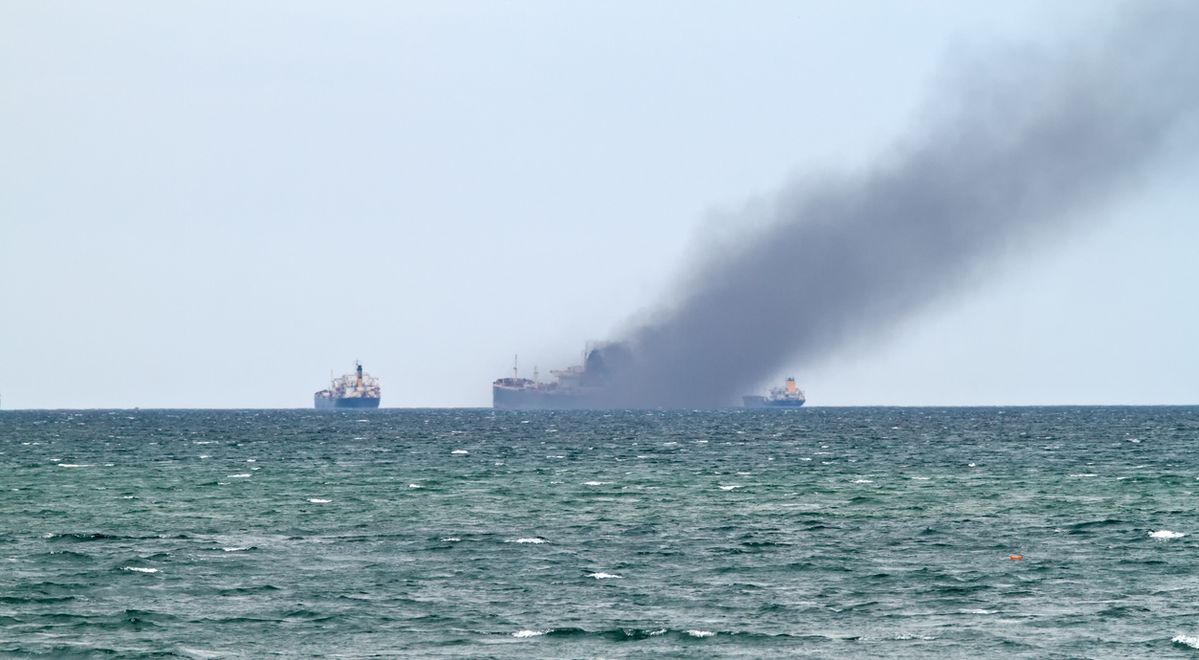 Accident at sea - Cargo Ship on fire